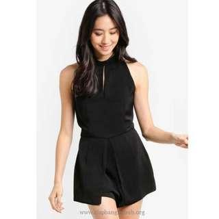 ZALORA High Neck Playsuit With Front Flap - Black (XS)
