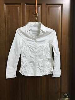 白色 抓皺 合身 腰身 長袖 襯衫