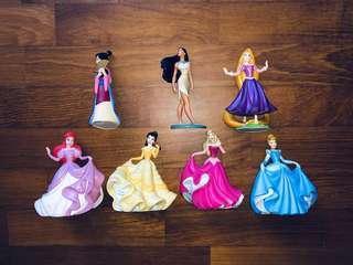 Disney Princess Figures - Mulan, Pocahontas, Rapunzel, Arielle, Belle, Aurora, Cinderella