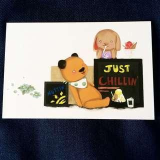 🚚 Just Chilling With Cute Bear And Rabbit Postcard anime