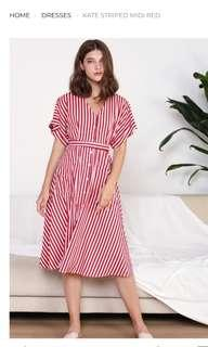 BN WILLOW LABEL KATE STRIPED MIDI RED Size S