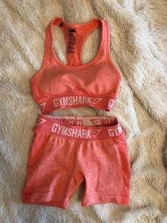 GYMSHARK NEW PEACH XS SPORTS BRA AND SHORTS