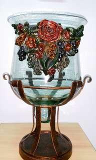 Hand blown Glass Vase with Pedestal