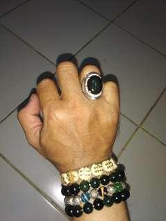 Batu bacan doko batang cincin perak