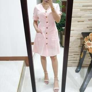 Peach Pink Button Down Dress
