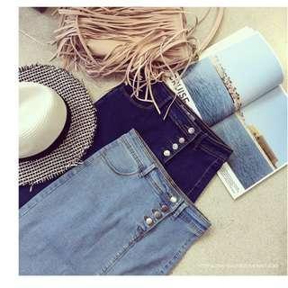Knee-Length High waist denim skirt with slit with button