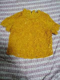Zara Mustard Embroidered Top