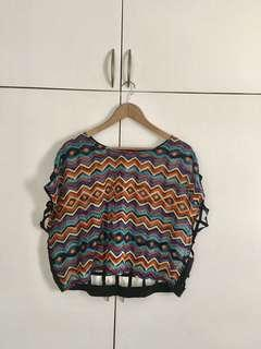 Rainbow Crop Top with Net back