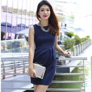 🚚 (L) Flymetoparis Corporate Beauty Dress in Navy