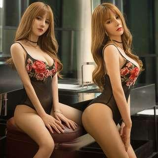 [READY STOCK] Flower Emboidery Teddies Bodysuit Sexy Lingerie Sleepwear MS455