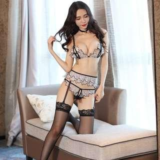 [READY STOCK] Flower Lace Garter Belt Stocking Sexy Lingerie Set Sleepwear