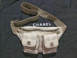 Chanel Travel Line Beige Waist Belt Bag / Fanny Pack