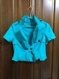 藍綠色 西裝外套款 小外套 短袖