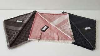 Gucci Scarf 140x140cm Dark Brown/ Pink Salmon/ Black