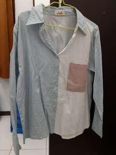 E.look Two Tone Pocky Shirt - Blue White