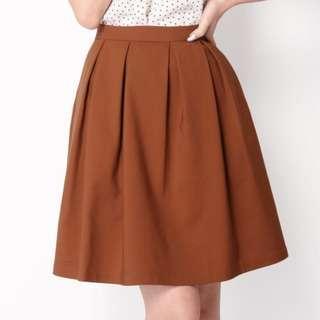 🚚 (L) AforArcade Olivia Box Pleat Skirt in Rust