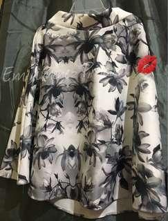 Circle White Gray Floral Skirt