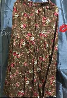 Brown Floral Long Skirt