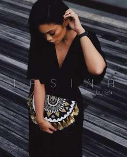 Black/Gold Handmade Embroidered Clutch