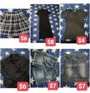 Clearance sale clothes skirts, shorts, dress, tops etc