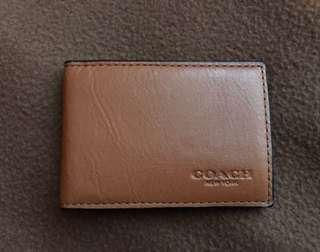 Coach card case with photo compartment light brown