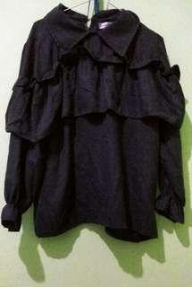 [ MAYOUTFIT ] Black Layered Shirt / Tops