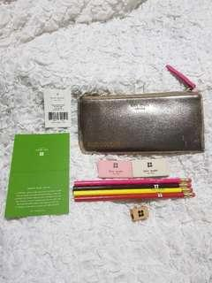 KATE SPADE BECCA LEATHER PENCIL CASE in GOLD/PINK