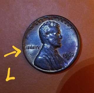 錯體美國林肯壹仙五彩幣(正面L字太貼邊)
