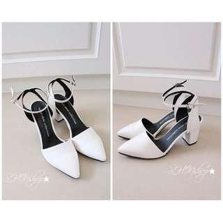 正韓製-雪白復古尖頭瑪莉珍繫帶鞋(25cm/實際適合24.5cm腳)
