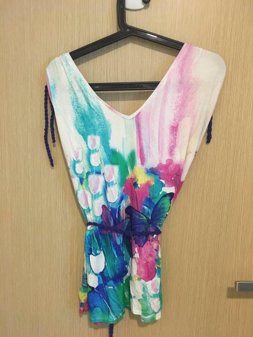 9fashion Gigi Patterned Blouse with Tie - Multi colours