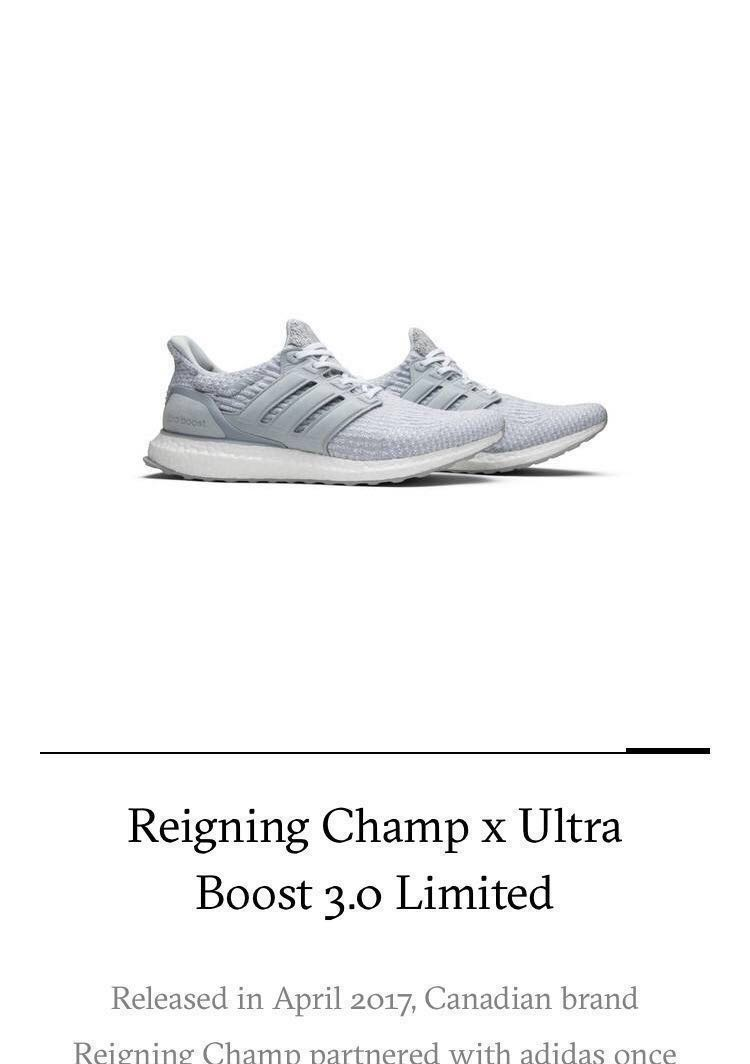 01de23efbba50 Adidas Reigning Champ x Ultra Boost 3.0 Limited