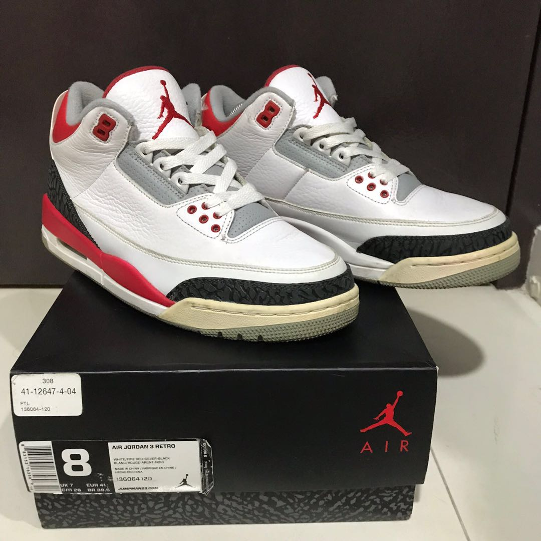 5205488be5d Air Jordan 3 fire red, Men's Fashion, Footwear, Sneakers on Carousell