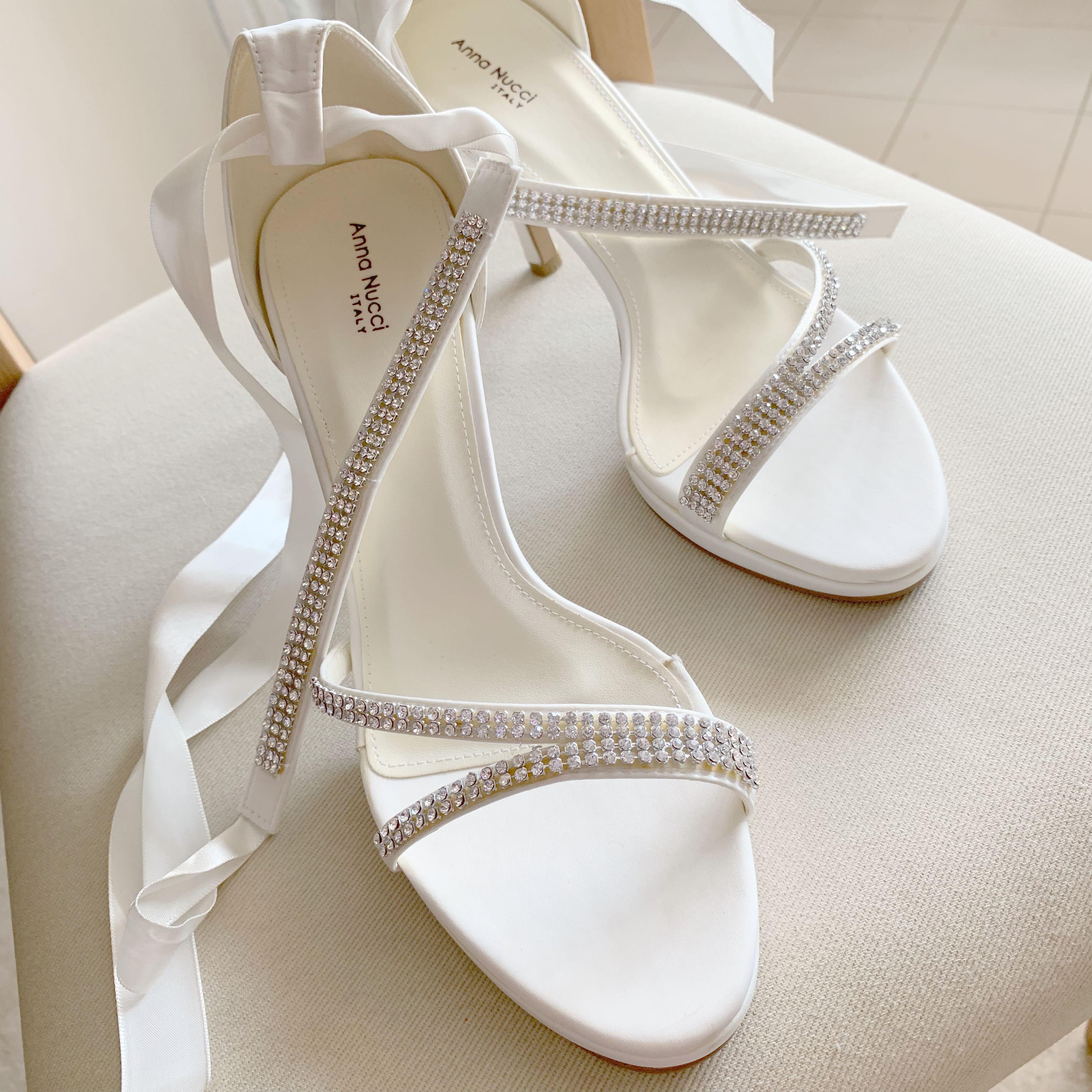 Anna Nucci White Diamond Bridal Heels
