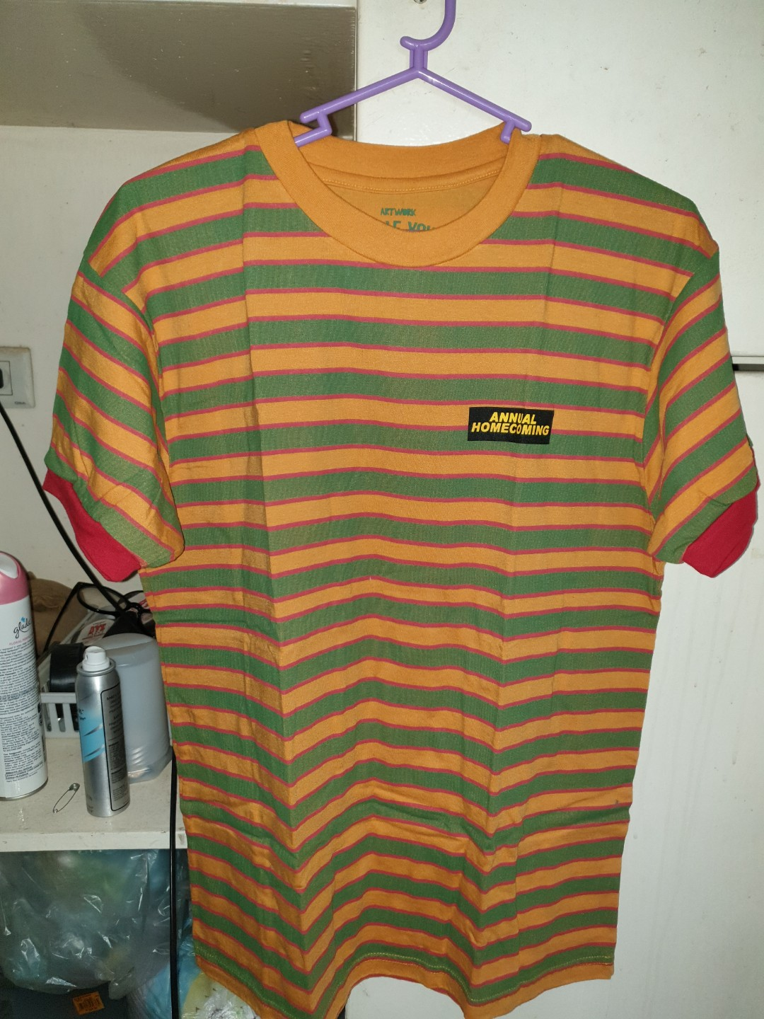 973434efb5 Artwork Mustard Striped Tee, Men's Fashion, Clothes, Tops on Carousell