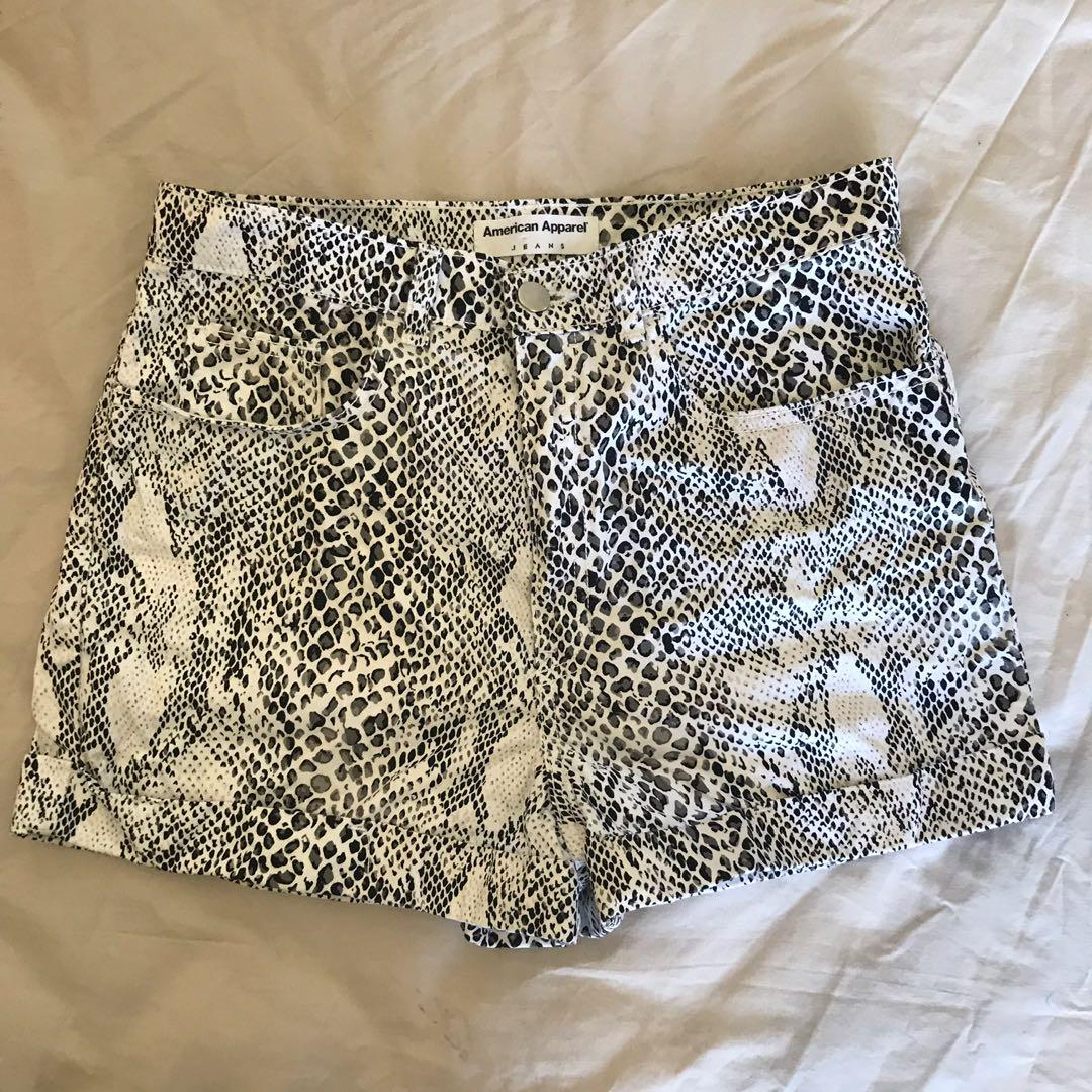Black and White Animal Print American Apparel Shortd