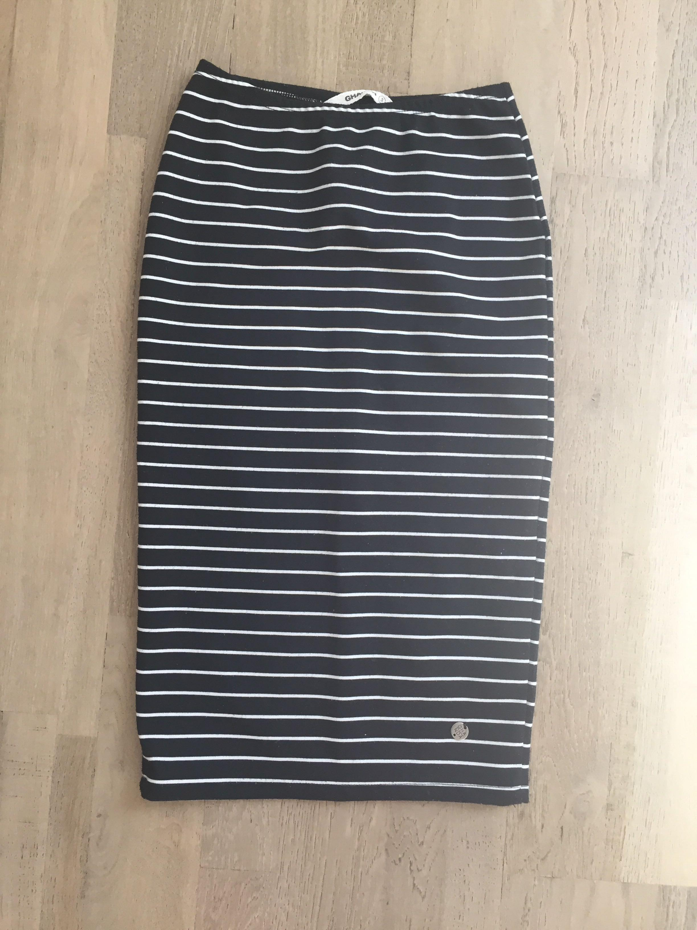 Black and white stripe size small knee length high waisted skirt