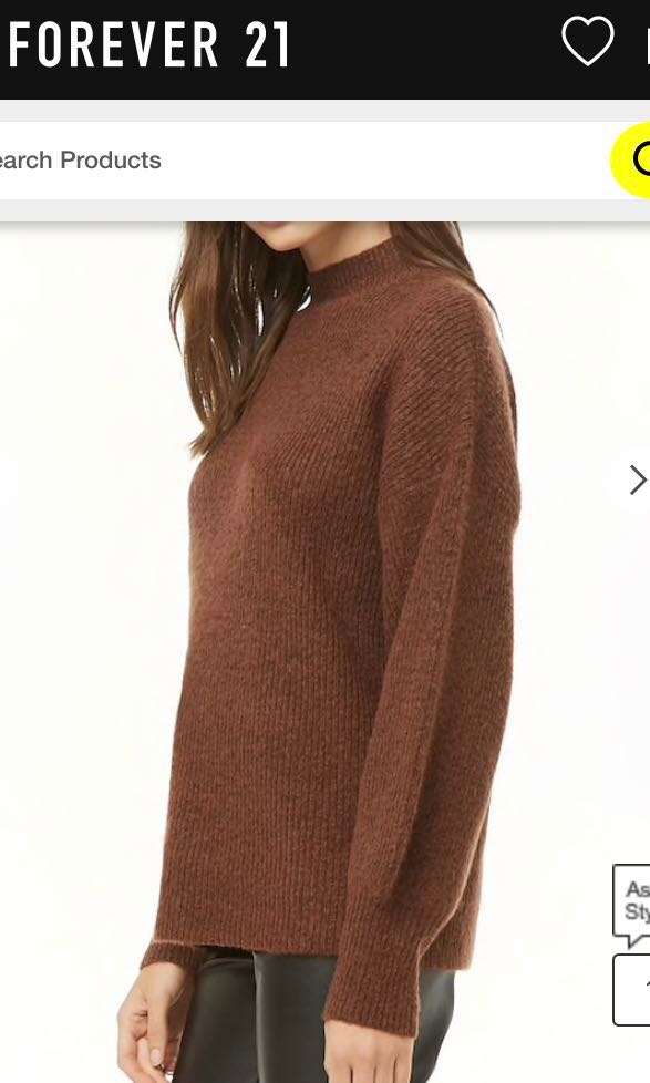 67e32ec59ec Bn Forever 21 F21 Brown Brushed Cut Out Back Knit Oversized Sweater