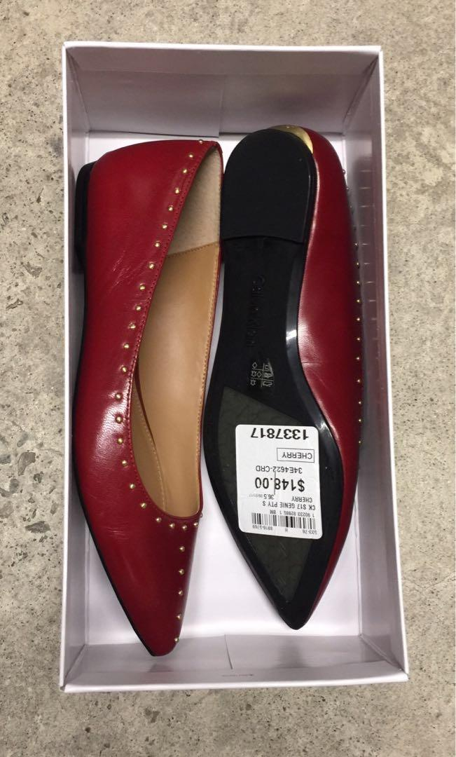 CALVIN KLEIN RED LEATHER FLATS (NEW)