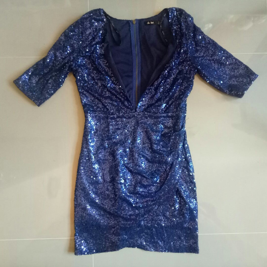 c1693b14 Free shipping! Chic A Booti Blue Sequined Dress, Women's Fashion ...