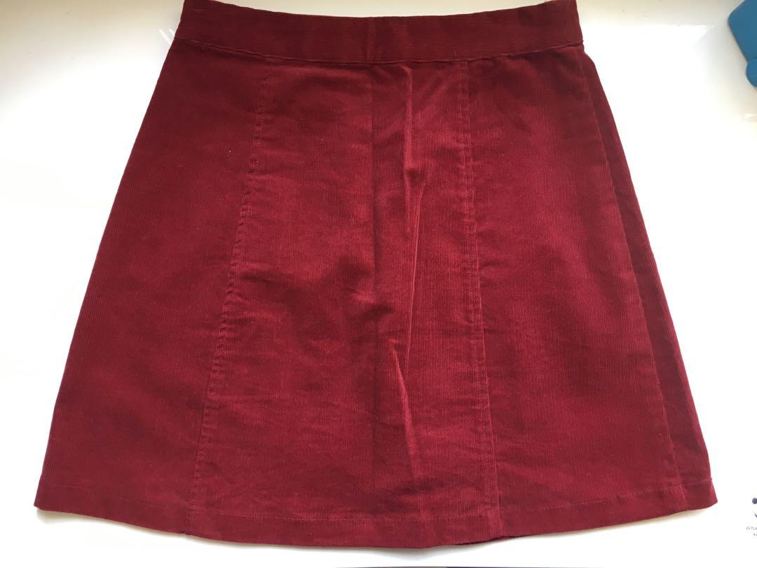 Dotti High Waisted Corduroy Maroon/Red Button Up Skirt