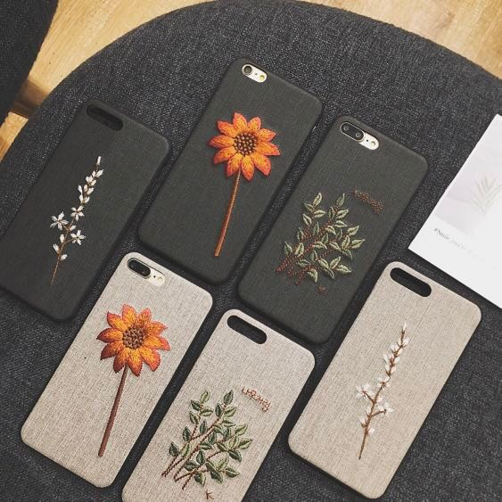new product 4343b ceb50 embroidered flower silicon phone case