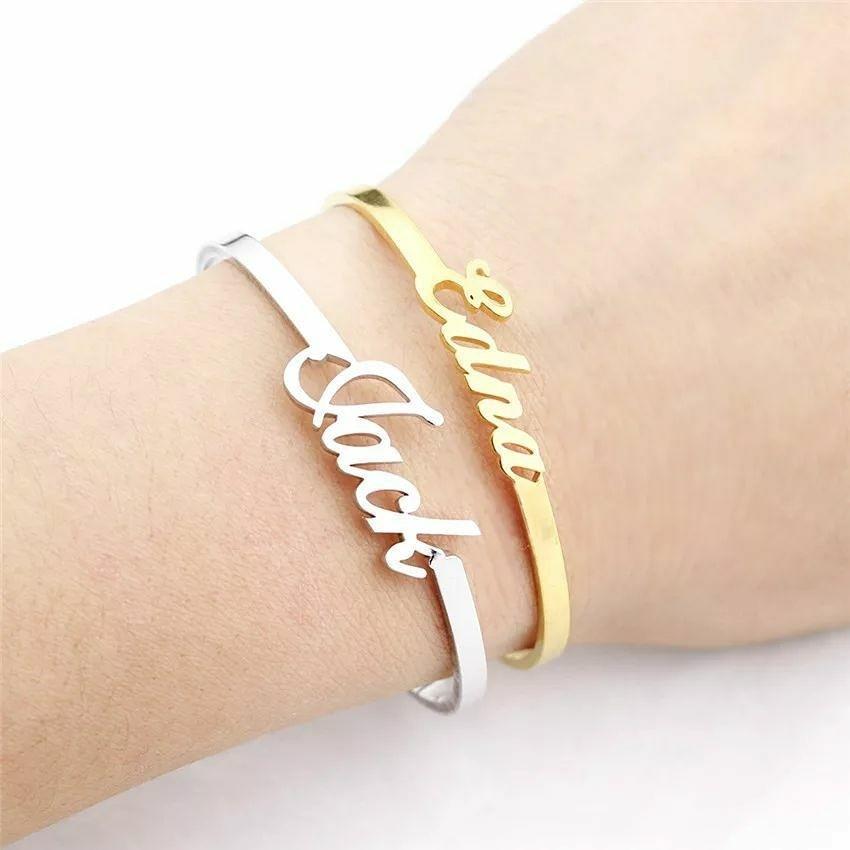 Fashion Women Hand Cuff Custom Name Craft On Demand.