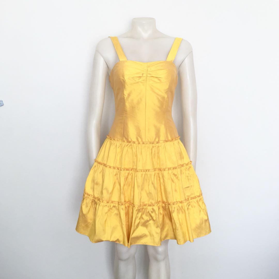 Gorgeous vintage 80's canary yellow prom dress