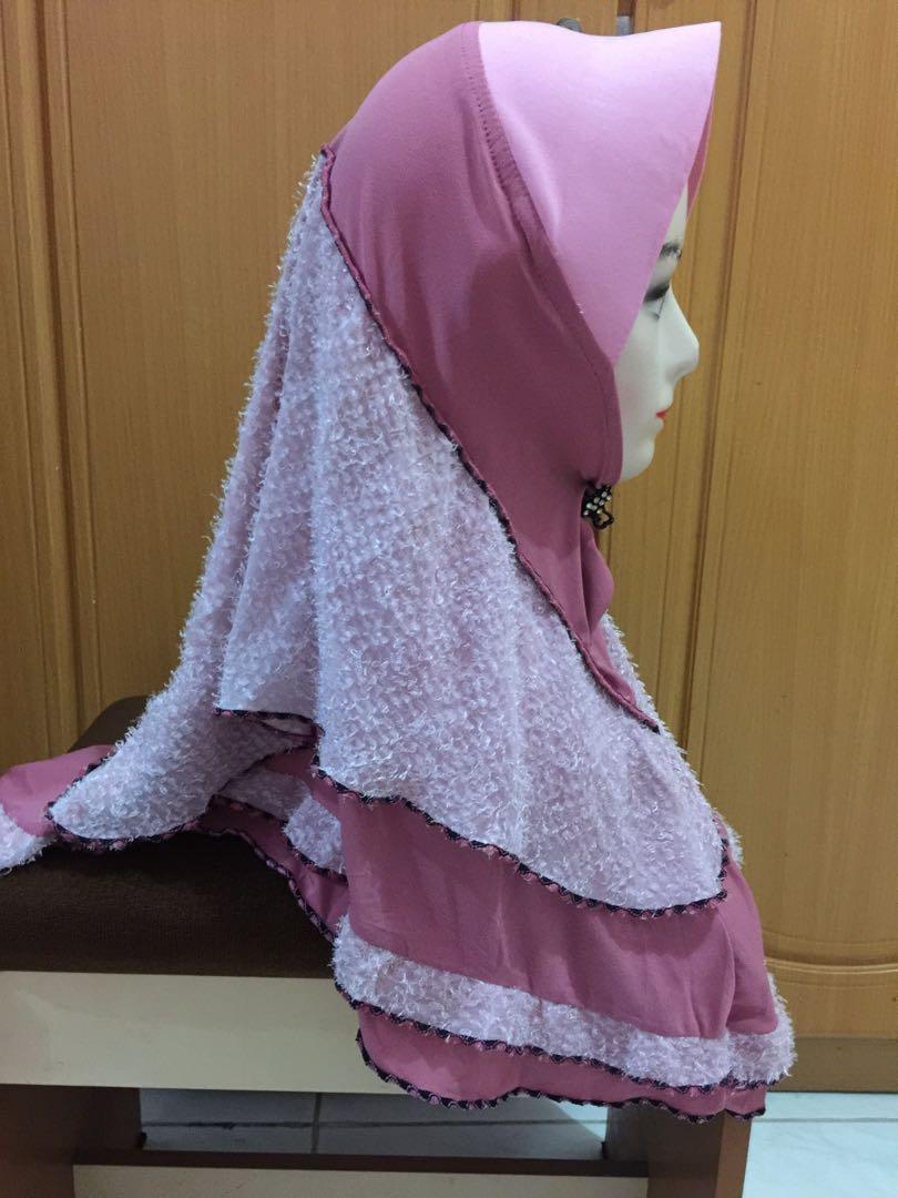 Hijab instan malaysia pink bulu