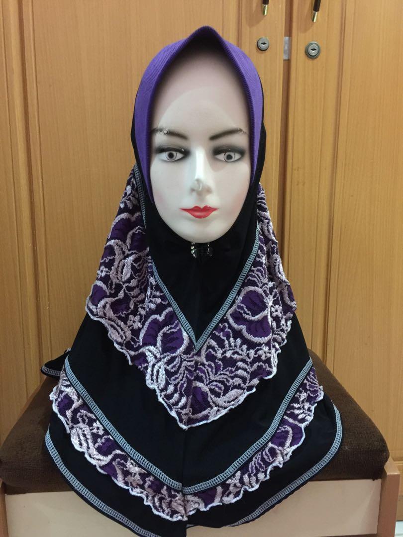 Hijab instan malaysia ungu