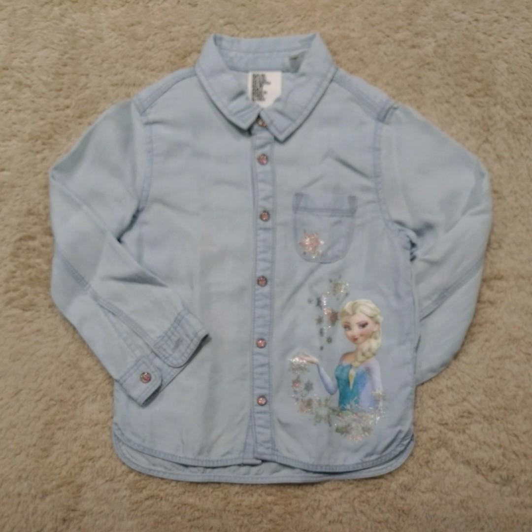 6499f9e01e H M Frozen (Elsa) Soft Denim Polo (with long sleeves)