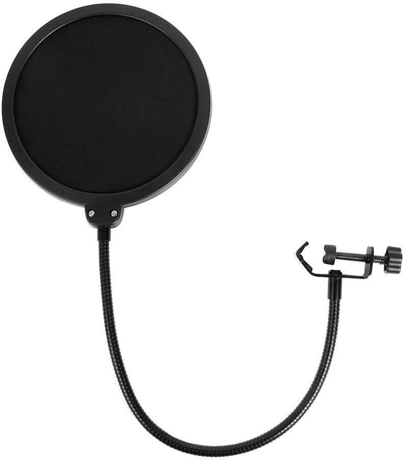 I. Microphone Pop Filter for Studio Condenser Microphone Mic Round Shape Wind Screen Mask Shield Mount Gooseneck with Stand Clip kit (6 inch) by Eastshining ...