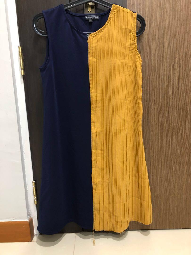 JEC Navy Sleeveless Half Pleat Nursing Dress