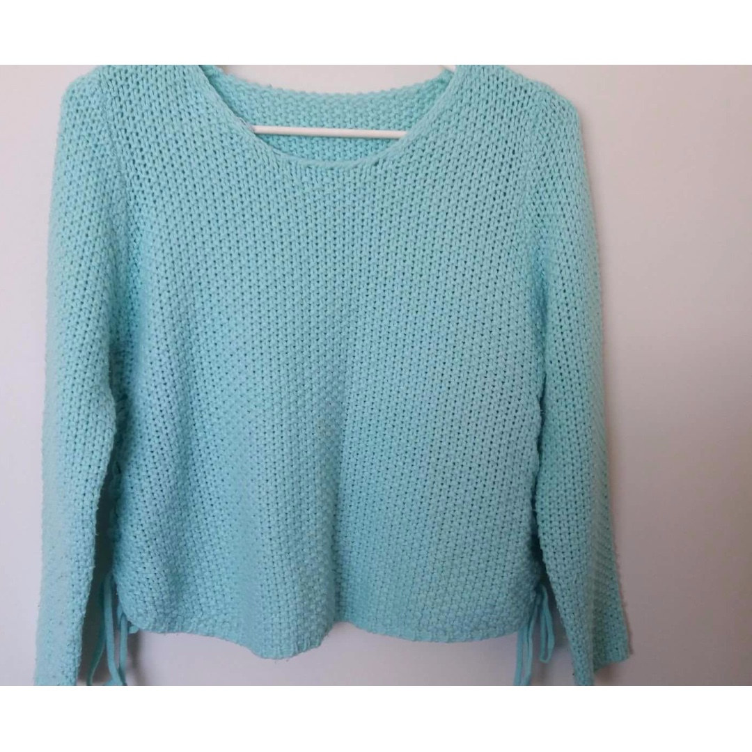 Mint Lace-Up Sweater