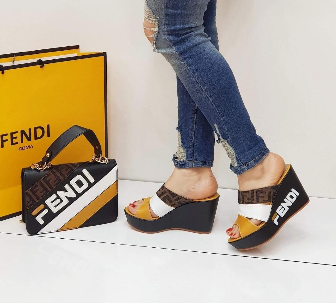 💫NEW💫NEW💫NEW💫  FENDİ WEDGE SANDALS➕ FENDİ HANDBAGS👌